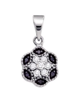 10kt White Gold Womens Round Black Color Enhanced Diamond Hexagon Cluster Pendant 1/5 Cttw