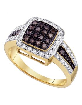 14kt Yellow Gold Womens Round Brown Color Enhanced Diamond Cluster Ring 1/2 Cttw