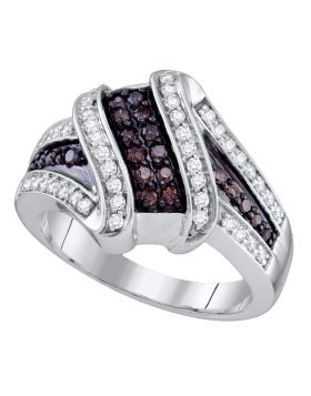 10kt White Gold Womens Round Brown Color Enhanced Diamond Crossover Ring 1/2 Cttw