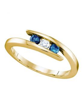 10kt Yellow Gold Womens Round Blue Color Enhanced Diamond 3-stone Ring 1/4 Cttw