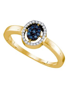 10kt Yellow Gold Womens Round Blue Color Enhanced Diamond Oval Cluster Ring 1/6 Cttw