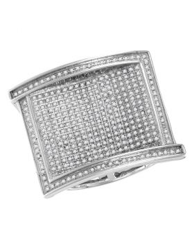 10KT WHITE GOLD ROUND PAVE-SET DIAMOND RECTANGLE CLUSTER RING 1.00 CTTW