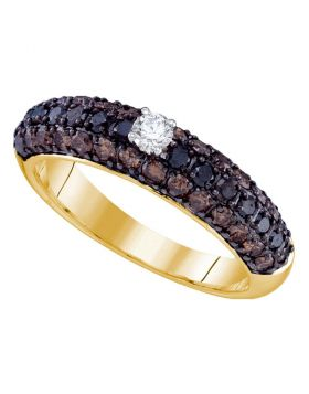 10kt Yellow Gold Womens Round Black Color Enhanced Diamond Solitaire Bridal Wedding Engagement Ring 1.00 Cttw