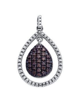 Sterling Silver Womens Round Cognac-brown Color Enhanced Diamond Teardrop Frame Cluster Pendant 3/8 Cttw