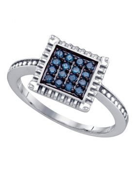 Sterling Silver Womens Round Blue Color Enhanced Diamond Square Ring 1/4 Cttw