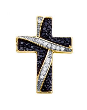 10k Yellow Gold Black Color Enhanced Diamond Womens Asymmetric Cross Religious Pendant 1/4 Cttw