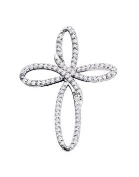 10k White Gold Diamond Womens Cross Religious Open-center Pendant 1/4 Cttw
