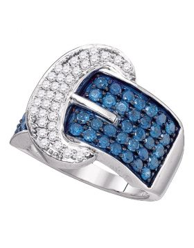 10kt White Gold Womens Round Blue Color Enhanced Diamond Belt Buckle Band Ring 1-7/8 Cttw
