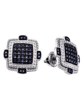 Sterling Silver Mens Round Blue Color Enhanced Diamond Square Earrings 3/8 Cttw