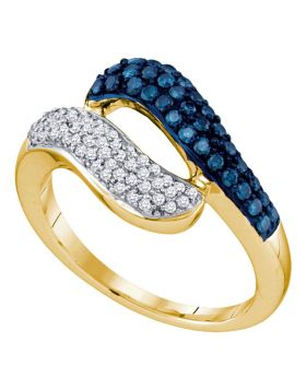 10kt Yellow Gold Womens Round Blue Color Enhanced Diamond Cocktail Ring 1/2 Cttw