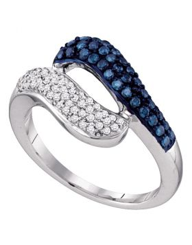 10kt White Gold Womens Round Blue Color Enhanced Diamond Cocktail Ring 1/2 Cttw