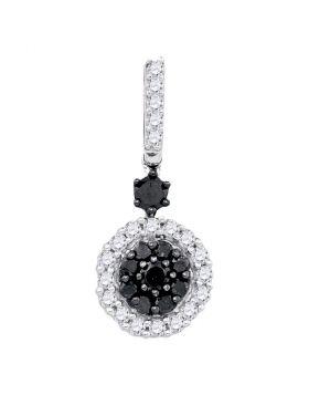 10kt White Gold Womens Round Black Color Enhanced Diamond Cluster Pendant 1/2 Cttw