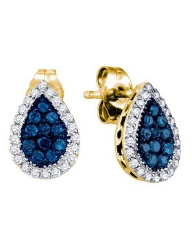 10kt Yellow Gold Womens Round Blue Color Enhanced Diamond Teardrop Cluster Earrings 1/2 Cttw