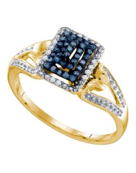 10kt Yellow Gold Womens Round Blue Color Enhanced Diamond Cluster Ring 1/6 Cttw