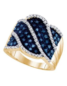 10kt Yellow Gold Womens Round Blue Color Enhanced Diamond Striped Fashion Ring 3/4 Cttw