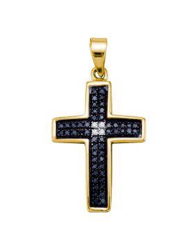 Yellow-tone Sterling Silver Womens Round Black Color Enhanced Diamond Cross Religious Pendant 1/6 Cttw