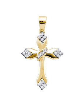 14k Yellow Gold Womens Round Diamond Cross Crucifix Religious Pendant 1/5 Cttw