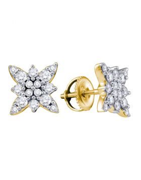 14kt Yellow Gold Womens Round Diamond Cluster Stud Screwback Earrings 3/4 Cttw