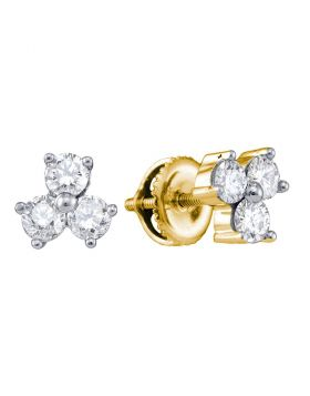 14kt Yellow Gold Womens Round Diamond Stud Earrings 5/8 Cttw