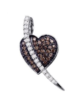 10kt White Gold Womens Round Cognac-brown Color Enhanced Diamond Heart Pendant 1/2 Cttw