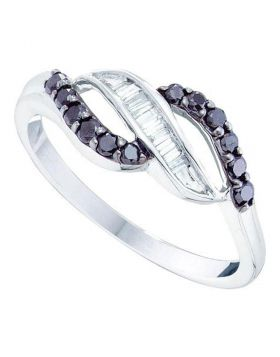 10kt White Gold Womens Round Black Color Enhanced Diamond Band Ring 1/3 Cttw