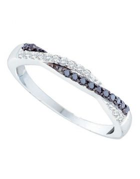 10kt White Gold Womens Round Black Color Enhanced Diamond Crossover Band Ring 1/4 Cttw