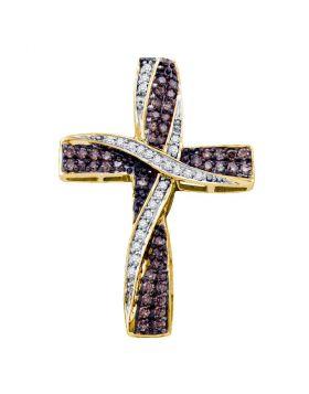 14kt Yellow Gold Womens Round Cognac-brown Color Enhanced Diamond Bound Cross Pendant 1/2 Cttw