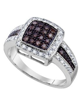 10kt White Gold Womens Round Cognac-brown Color Enhanced Diamond Square Cluster Ring 1/2 Cttw