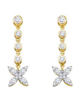 10kt Yellow Gold Womens Round Diamond Flower Cluster Dangle Earrings 3/4 Cttw
