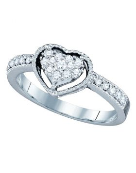 14kt White Gold Womens Round Diamond Heart Cluster Ring 1/3 Cttw
