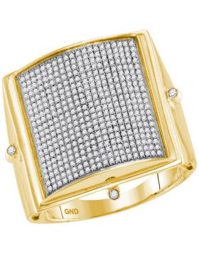 10KT YELLOW GOLD ROUND PAVE-SET DIAMOND SQUARE DOME CLUSTER RING 7/8 CTTW