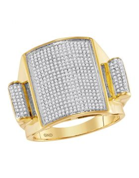 10KT YELLOW GOLD ROUND PAVE-SET DIAMOND RECTANGLE DOME CLUSTER RING 3/4 CTTW