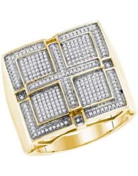 10KT YELLOW GOLD ROUND PAVE-SET DIAMOND SQUARE CROSS CLUSTER RING 1/2 CTTW
