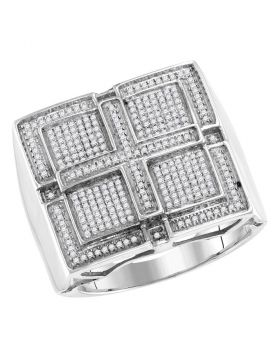 10KT WHITE GOLD ROUND PAVE-SET DIAMOND SQUARE CROSS CLUSTER RING 1/2 CTTW
