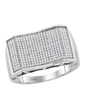 10KT WHITE GOLD ROUND PAVE-SET DIAMOND RECTANGLE CONVEX CLUSTER RING 5/8 CTTW