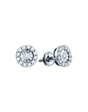 10kt White Gold Womens Round Diamond Illusion-set Solitaire Stud Earrings 1/4 Cttw