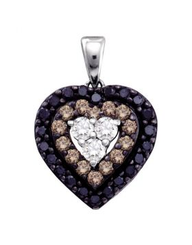 14kt White Gold Womens Round Black Color Enhanced Diamond Heart Pendant 1/2 Cttw