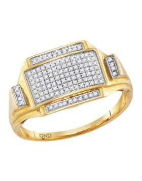 10KT YELLOW GOLD ROUND PAVE-SET DIAMOND RECTANGLE CLUSTER RING 1/4 CTTW