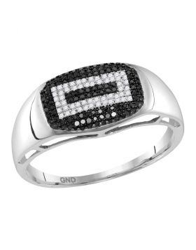 10KT WHITE GOLD ROUND BLACK COLOR ENHANCED DIAMOND CONCENTRIC RECTANGLE CLUSTER RING 1/4 CTTW