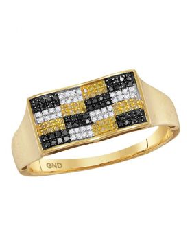 10KT YELLOW GOLD ROUND BLACK YELLOW COLOR ENHANCED DIAMOND CHECKERED CLUSTER RING 1/4 CTTW