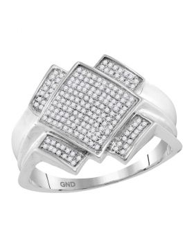 10KT WHITE GOLD ROUND PAVE-SET DIAMOND DIAGONAL SQUARE CLUSTER RING 1/3 CTTW