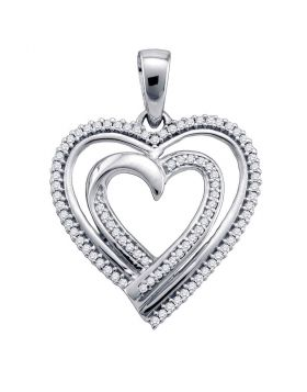 10kt White Gold Womens Round Diamond Double Nested Heart Pendant 1/4 Cttw