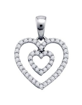 10kt White Gold Womens Round Pave-set Diamond Double Heart Outline Pendant 1/6 Cttw