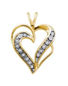 Yellow-tone Sterling Silver Womens Round Diamond Heart Pendant 1/20 Cttw