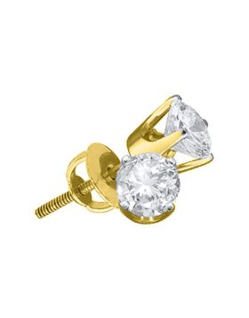 14kt Yellow Gold Unisex Round Diamond Solitaire Stud Earrings 1/10 Cttw