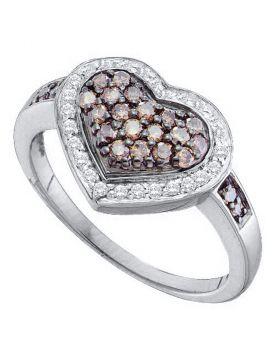 10kt White Gold Womens Round Cognac-brown Color Enhanced Diamond Framed Heart Cluster Ring 1/2 Cttw