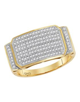 10KT YELLOW GOLD ROUND PAVE-SET DIAMOND RECTANGLE CLUSTER RING 1/2 CTTW
