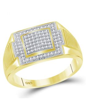 10KT YELLOW GOLD ROUND DIAMOND RECTANGLE CLUSTER RING 1/4 CTTW