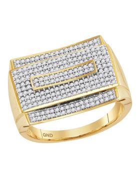 10KT YELLOW GOLD ROUND PAVE-SET DIAMOND RECTANGLE CLUSTER RING 3/4 CTTW