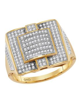 10KT YELLOW GOLD  ROUND DIAMOND SQUARE CLUSTER RING 1/2 CTTW